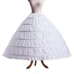 abiti liberi quinceanera Sconti Bianco 6 Hoops Ball Gown Petticoat Spedizione Gratuita Crinolina Sottogonna Da Sposa Sottogonne Gonna Slip Crinolina Per Abiti Da Sposa Quinceanera