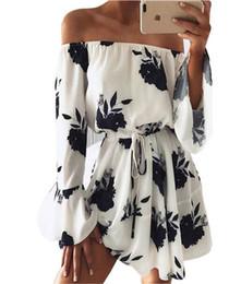 Wholesale empire waist off shoulder dress - New Summer Off Shoulder Dress for Women Sexy Knee Length Long Sleeve Dresses High Waist Flora Printing Backless Clothing