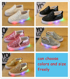 Wholesale Childrens Shoes For Girls - Children Slides Shoes Korean Sequin LED Kids Sneakers Baby Sparkle Shoes For Girls Childrens Casual Sparkle Shoes A033