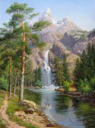 Wholesale Hand Spray Painting - landscape DIY oil paint painting by numbers diy picture waterfall drawing on canvas oil painting by hand coloring
