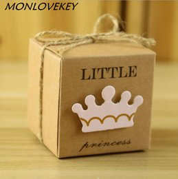 Wholesale Princes Bags - 30pcs bag Princess or prince candy box baby full moon birthday pink or blue color candy boxes for birthday party cute cookie box