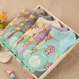 Wholesale wholesale sock monkey - [COSPLACOOL] Cute wild socks shallow mouth socks High quality 5 color women sock new spring and summer monkey cartoon