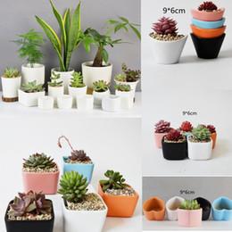 Wholesale desktop shapes - heart shape Ceramic Succulent Plant Pots Hexagon Decorative Flowerpot Desktop Flower Pot Bonsai Planter Garden decoration GGA464 150PCS