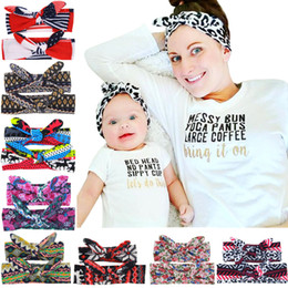 hair design multi Coupons - New Arrival Multi Design Kids Mummy Dazzle Floral Print Bunny Ear Hair Bands Parent-Child Outfit Bowknot Headbands Rabbit Ear Headwear BE15