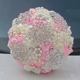 2019 decoração de bola de rosa atacado Flores do casamento feitas à mão flor Dama De Honra Decoração De Casamento FoamflowersCristal Rhinestone Rose Fontes Do Casamento bouquets de noiva XWZ00055