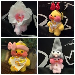 Wholesale Stuffed Frog Animal Toy - INS Hyaluronic Acid Duck Plush Stuffed Yellow Duck Soft Pink Rubber Duck Toy Princess Hat Frog Cap Mickey Head Hoop Bib Glasses Animal Toy
