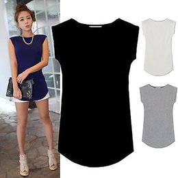 Wholesale Juniors Tees - 2017 Women Junior Basic Plain Casual Modal Cap Sleeve Slim O-Neck Tee Shirt Tops vest tank top for woman sleeveless