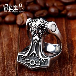 Wholesale Men S Fashion Rings - whole saleBeier 316L Stainless Steel Norse Viking Nordic Myth Thor man`s Jewelry High Quality fashion wholesale ring jewelry R441