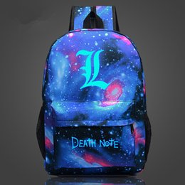 Wholesale Death Notes - Free Shipping Backpack Death Note School Bag Children Luminous Backpacks For Teenagers Nylon Shoulder Bag Students Travel Bags
