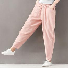 Wholesale cotton linen trousers women - New Vintage Cotton Linen Harem Pants Trousers Women Summer Elastic High Waist Women Pants Casual Sweatpants Pantalon Femme C4312