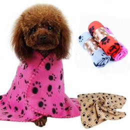 Wholesale Warm Dog Blankets - Small Paw Print Pet Cat Dog Fleece Soft Warmer Lovely Blanket 60*70cm Beds Cushion Mat Dog Blanket Cover T1I086