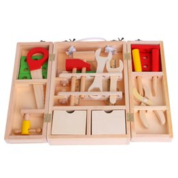 Wholesale Wooden Model House Kits - New Children's Simulation House Wooden Service Box Tool Repair Kit Funny Intelligence Toy #20 29W