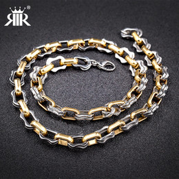 Wholesale Two Tone Gold Necklace Men - RIR Two Tone Gold Black Stainless Steel Chain Necklace Men Collier Rapper Hip hop style Jewelry Fashion Trendy Franco Necklaces