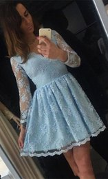 Wholesale Designer Black Cocktail Dresses - 2018 Elegant Blue Lace Long Sleeves Homecoming Dresses Short V neck illusion A line Hollow Back Designer Prom Cocktail Party dresses