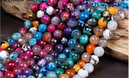 6mm halb kostbare perlen online-6mm Natürliche Edelstein Facet Achat Runde Kugel Perlen Halbedelstein diy Perlen Schmuck Zubehör Perlen für Schmuck machen
