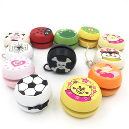 Wholesale toys for chinese children - Newest Wooden Chinese Soccer YOYO with String Ball Kids Toys Cartoon Yo-Yo Toy Educational Gift Classic Toys for Children