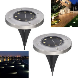 Wholesale Solar Powered Led Lanterns - Outdoor Disk Lights Solar Disk Lights Solar Powered 8 LED Waterproof Outdoor Portable Lanterns Hiking camping Garden Stair Lights z183