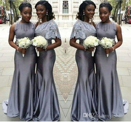 ed6eb7085d2 Grey Long Mermaid Bridesmaid Dresses 2017 New Sleeveless One Shoulder Stain  Formal Long Bridesmaid Dresses For Wedding Gown Evening Dresses