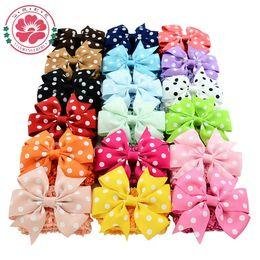 Wholesale Double Bow Clips - 18pcs Lot Double Usage Detachable Elastic Girls Bowknot Headbands Polka Dots Bows Clip Turban Hair Accessories