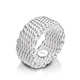 оптовые кольца стерлингового серебра Скидка Новая мода 9 мм широкое серебряное кольцо. Женщины твердые стерлингового серебра 925 кольцо плетеные сетки кольцо. Персонализированные серебряные ювелирные изделия оптом Y1891205