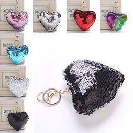 Wholesale jewelry mermaid ring - Mermaid Sequin Heart Keychain Carabiner Key rings Bag Hangs Fashion Jewelry for Women Drop Ship 340054