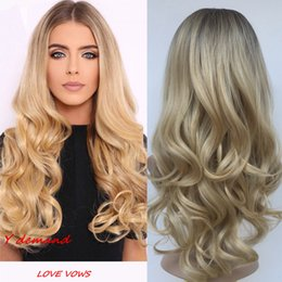 Wholesale long curly rooted wigs - Long Curly Wig Ombre Blonde Hair for Woman Dark Roots Wigs Natural Looking Synthetic Fiber Wig