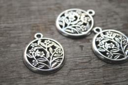 vie d'arbre pendentif tibétain Promotion 15pcs / lot - Breloques d'arbre de vie, pendentifs de charme en argent tibétain antiques souhaits de charme, arbre porte-bonheur 27x23mm