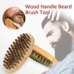 Wholesale Boar Brushes - Shaving Boar Makeup Hair Bristle Beard Brush Military Round Bamboo for Men Brush Strokes Grooming Facial Hair Comb OOA4071