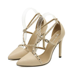 18401c1650023 Nude multi strappy rivets pointed pumps office shoes women high heels 2 colors  size 35 to 40