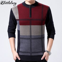 Wholesale Coat Dress Red Wool - Wholesale-2017 brand pullover men sweater dress male winter thick keep warm masculino casual knitted plaid mens sweaters jersey coat 66237