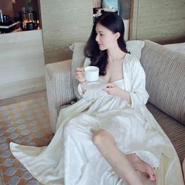 Königliches nachthemd online-Neue Frauen Long Robe Royal Stickerei Jacquard Seide Nachtwäsche Zwei Stücke Set Nightgown Pyjamas Nacht-Robe Weibliche Nachthemd
