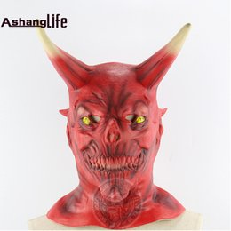 Wholesale Haunted House Masks - Red face cow demon hell ghosts night fork head sets Halloween haunted house dressed horror live Ngau Tau mask