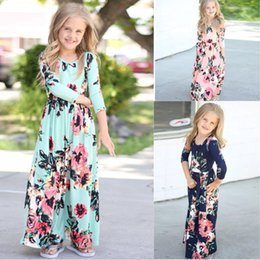 Wholesale White Beach Balls Wholesale - Fashion Summer Europe and America New baby girls full-length Party dresses round-neck long sleeve long foral dress top quality