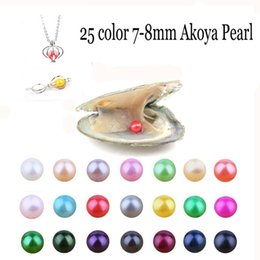 Wholesale make christmas earrings - Wholesale2018 Natural Akoya 7-8mm Mix Colors Freshwater Round Pearl Oyster For DIY Making Necklace Bracele Earrings Ring Jewelry Gift