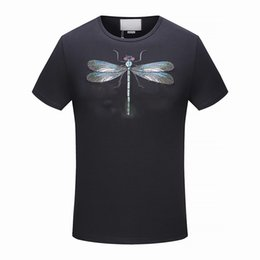 Wholesale High End T Shirts - 2018 summer new high-end men's brand t-shirt fashion short sleeve Dragonfly embroidery fashion t shirt Men's Tops Tees