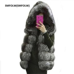 Wholesale Red Fox Vest - SMFOLW 2017Arrival Winter Warm Fashion Women Import Coat Fur Vest High-Grade Faux Fur Coat Fox Long Vest Plus Size: XS-10XL