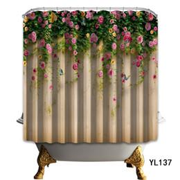 Série de banheiro on-line-Cortina de Chuveiro da placa da Flor Planta de Impressão Digital 3D Série Bonita da Borboleta Da Fibra de Poliéster À Prova de Água Fontes de banheiro 34ny3 bb