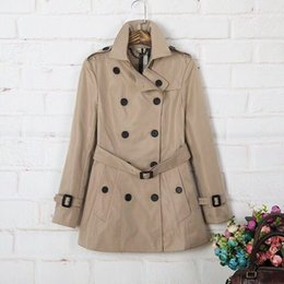 Wholesale Long Women British Coat - Autumn winter new Europe station lapel large size coat of the British style of thin double row button women's long trench coat