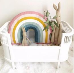 Almohadas decoradas online-Nueva Nordic 25x35 CM Almohada Arco Iris Niños Juguetes Arco Iris Suave Decorativo Relleno Cojín Almohada de Bebé de Dibujos Animados Decorar Habitación Infantil Decoración
