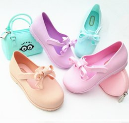 Wholesale jelly shoes laces - Melissa jelly shoes 2018 fashion new girls tassel lace-up Bows princess shoes baby kids candy color fragrance sandals fit 2-7T Y4035