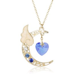 sailor moon party Promo Codes - dongsheng 5 Colors Women Girls Rhinestones Necklace Sailor Moon Cute Moon Star Angel Wing Natural Stone Heart Pendant Necklace-3