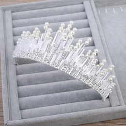 Wholesale Cheap Hair Accessories Free Shipping - 2018 Luxury Boho Wedding Crown Beading Pearls Bridal Accessory Bride Headpiecs Headband Hair Decoration Free Shipping Stock Cheap