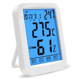 Pantalla LCD táctil termómetro humedad luz de fondo Hogar digital Temperatura interior Tiempo Monitor de tiempo calendario Reloj despertador Funciones desde fabricantes