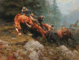 painting horses modern art Promo Codes - Thomas Landscape Oil Painting American West cowboy Art HD Print on Canvas Modern Wall Art Home office Decor Horse and black bear Picture