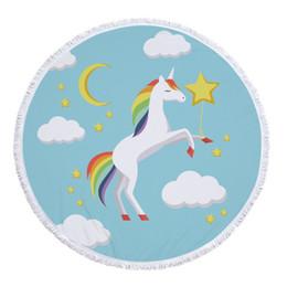 Круглый пляжное полотенце из микрофибры с кистями логотип как коврик для пикника животных Единорог шаблон лошадь пляжное полотенце cheap horse logo от Поставщики логотип лошади