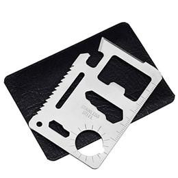 Argentina 11 en 1 Multi herramientas de caza que acampa de supervivencia cuchillo de bolsillo cuchillo de la tarjeta de acero inoxidable al aire libre engranaje herramientas EDC cheap 11 credit card tool Suministro
