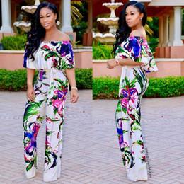 0cee52825c9 50pcs Summer floral Strapless Chiffon short sleeved Jumpsuit dress pants  female color Size S-2XL