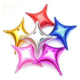 Wholesale Inflatables Stars Decorations - Hot Sale 10inch Four-pointed Star Foil Balloon Wedding Decoration Balloons Birthday Party Supplies Aluminum Inflatable Air Ball