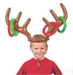 Wholesale Fun Christmas Hats - 100pcs Inflatable Kid Children Toys Fun Christmas Toy Toss Game Reindeer Antler Hat With Rings Hats Party Supplies ZA1158