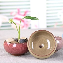 Wholesale chinese planting pot - Ice-Crackle Porcelain Ceramic Flower Pot With Hole Home Decoration Mini Flowerpot For Succulents Fleshy Plants Planter ZA6053